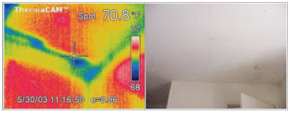 picture of ceiling and thermal picture of ceiling