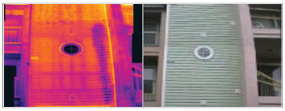 picture of window wall and thermal picture of window wall